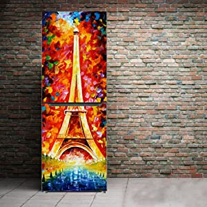 yazi Fridge Sticker Paris Eiffel Tower Customized Hallway Door Mural Removable Wardrobe Cover Home Wall Decal 23x59 Inch