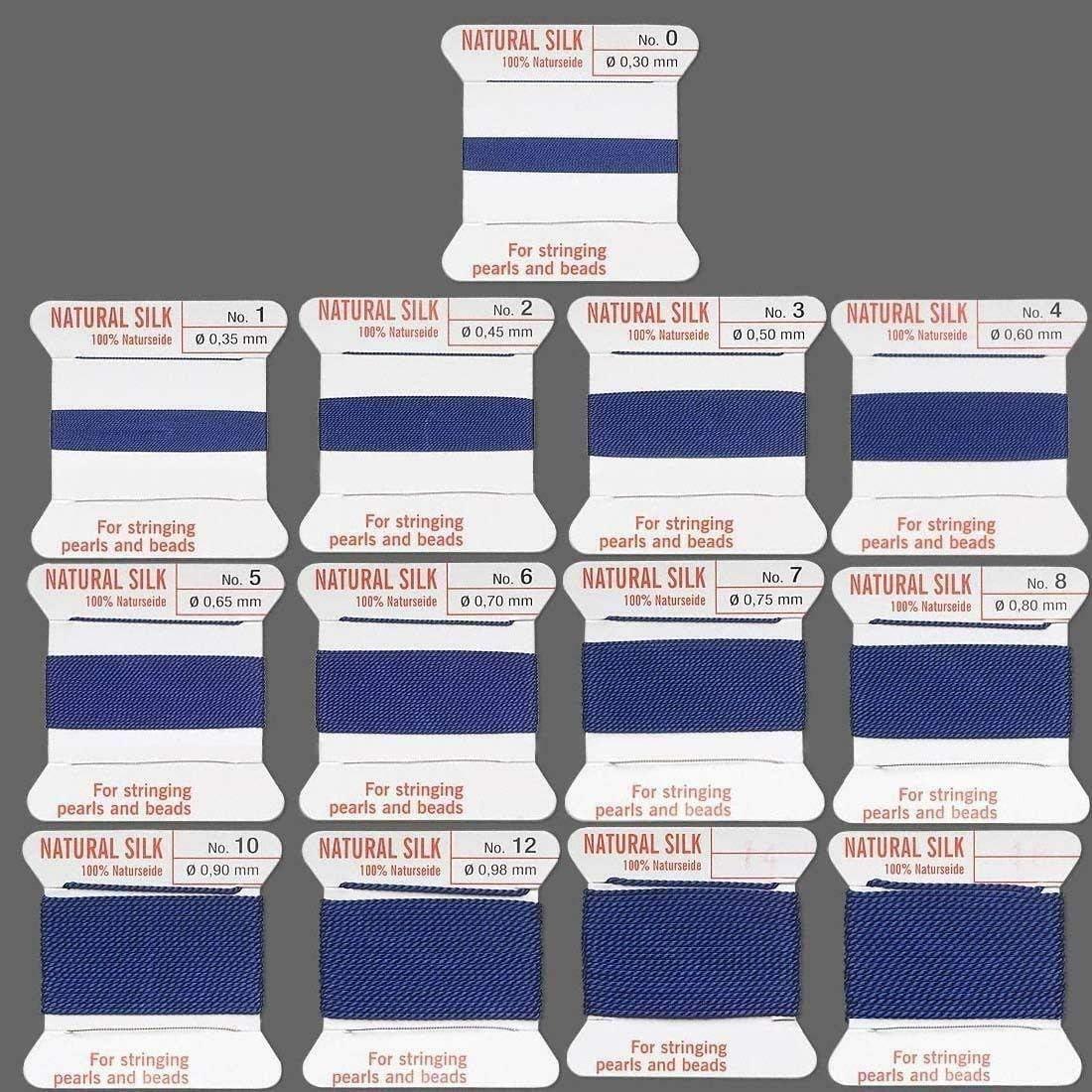 DARK BLUE SILK STRING THREAD 0.80mm STRINGING PEARLS /& BEADS GRIFFIN SIZE 8