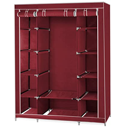 World Pride Double Large Wardrobe Closets Clothes Rail Storage Canvas  Cupboard Shelves (Wine Red)