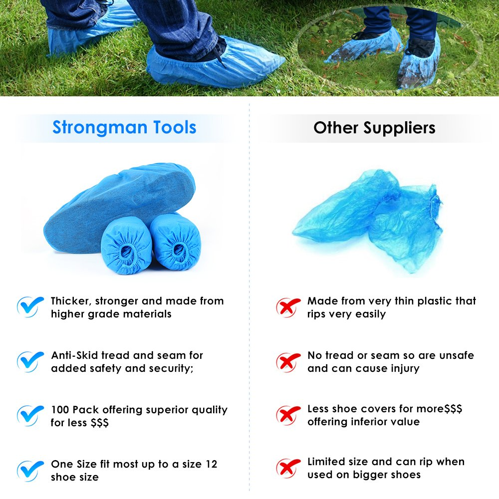 Shoe Covers, Disposable Shoe Covers - Durable, non-toxic, Recyclable Disposable Boot One Size Fits Most, Indoor - Outdoor Boot Covers Perfect for Medical Use, Housekeeping, Real Estate (100 Piece) by aubess (Image #4)