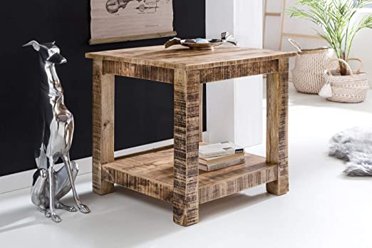 KS-Furniture Rustica - Mesa Auxiliar de Madera Maciza (60 x 60 x ...