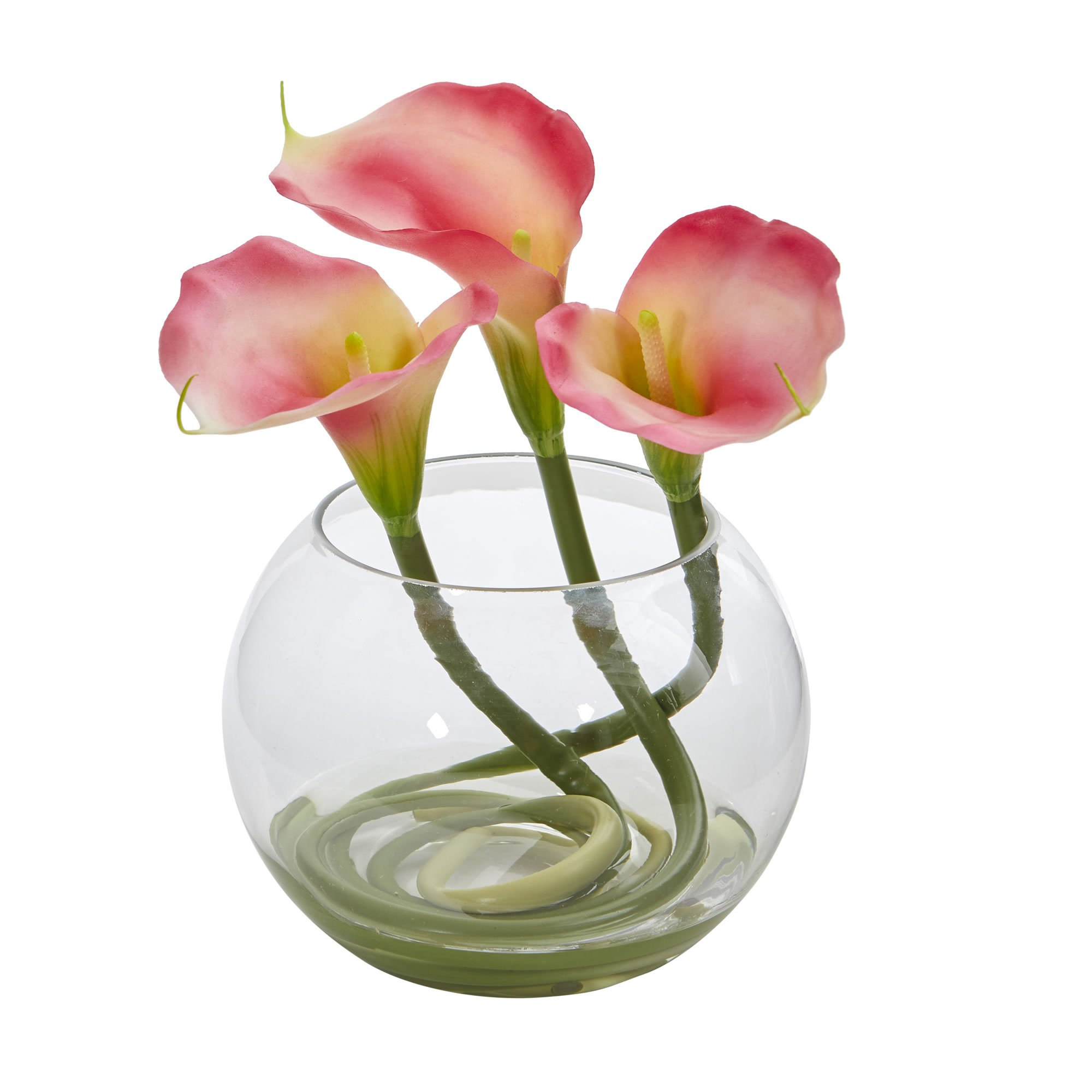Nearly Natural Calla Lily in Rounded Glass Vase 9'' Pink by Nearly Natural