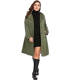 64c1faa1bed Amazon.com  Zeagoo Women Plus Size Double Breasted Wool Elegant Long ...