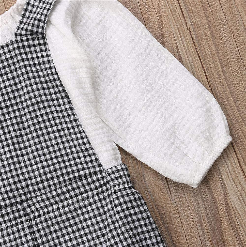 ZOELNIC Baby Girls Suspenders Pants Set Long Sleeve Shirt Plaid Short Overalls