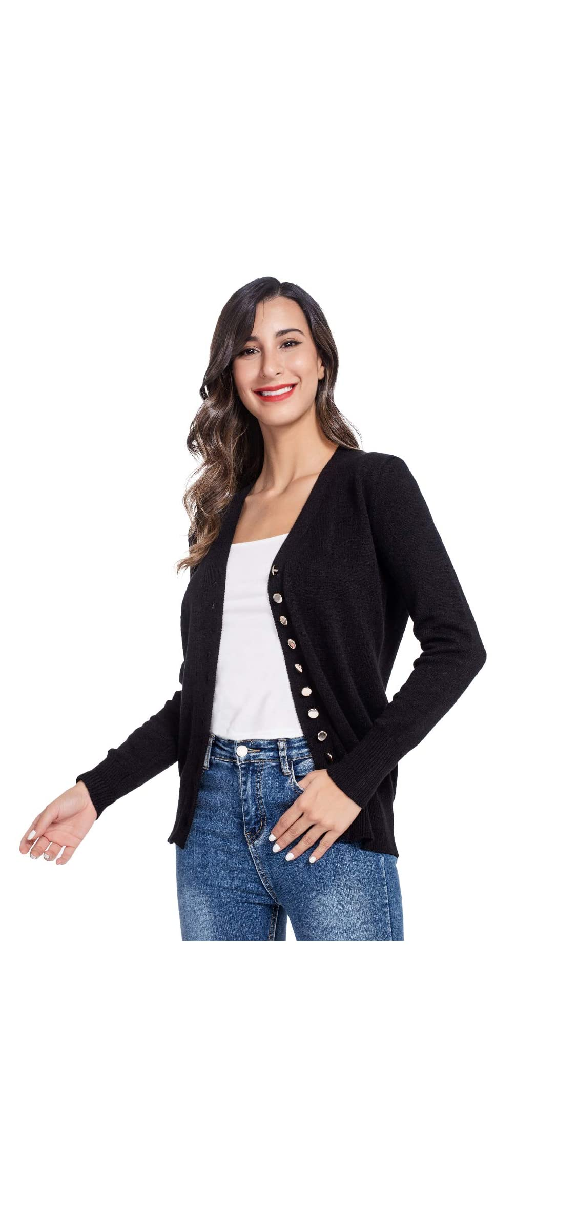 Women Open Front Cardigans Sweaters Long Sleeve Casual