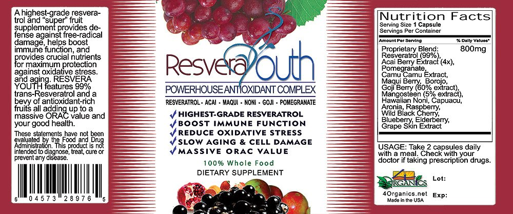 ResveraYouth Antioxidant Antiaging Power Formula 60 Caps per Bottle - 3 Pack