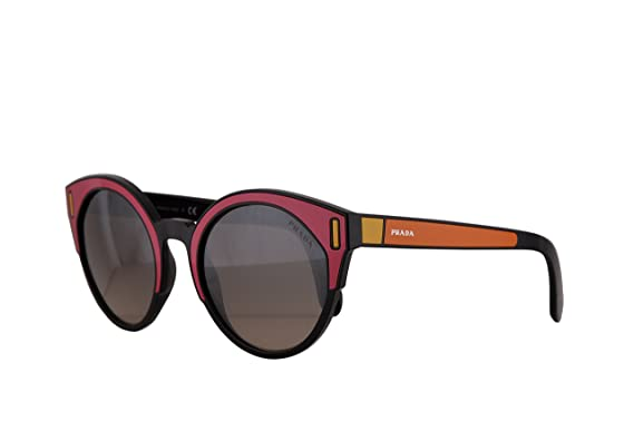 8f3581fde4040 Image Unavailable. Image not available for. Color  Prada PR03US Sunglasses  Black Fuxia Yellow w Brown Gradient Grey Mirror Silver ...