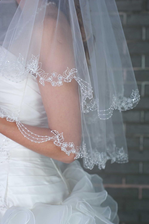 de perles Voile de mariee longueur du coude decore a la main avec de la dentelle deux couche et de cristaux