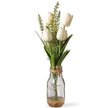 Christmas Flower Arrangements White.Cc Christmas Decor 14 Artificial White Tulip Flower Arrangement In Glass Vase