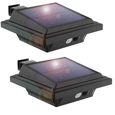 Solar Motion Sensor Lights Outdoor, 25 LEDs Solar Gutter Lights, 2W, PIR-Sensor, No Dim Model, Wireless Security Night Lights for Garden, Black, Cool White Light(2 Packs)