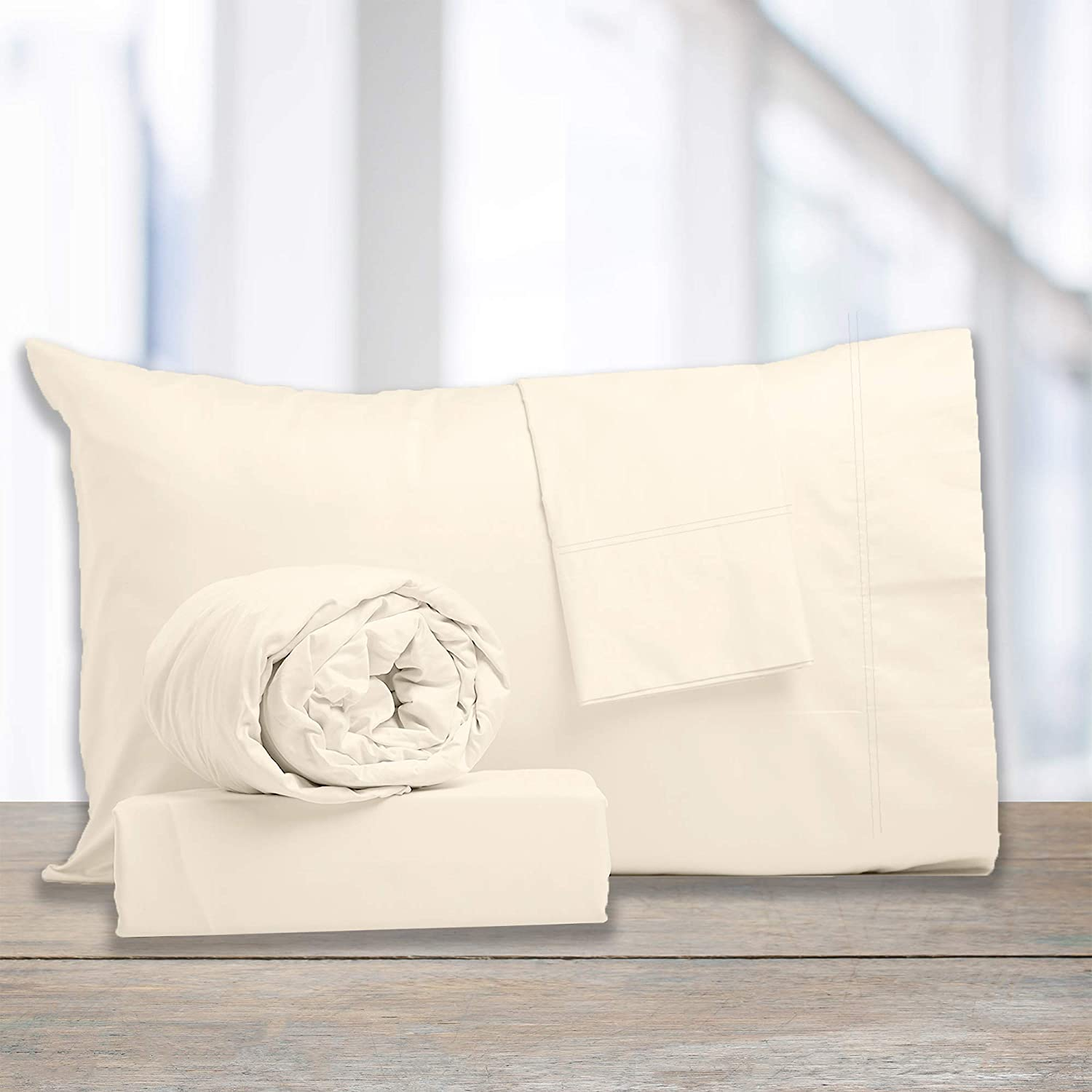 """1200 Thread-Count Cotton Rich Sateen White Queen Sheets, 4-Piece Best-Bedding Bed Sheet Set, Luxury & Performance, Soft Silky, Cool Moisture Wicking, Wrinkle Resistant, Deep Pocket True Grip Upto 18"""""""