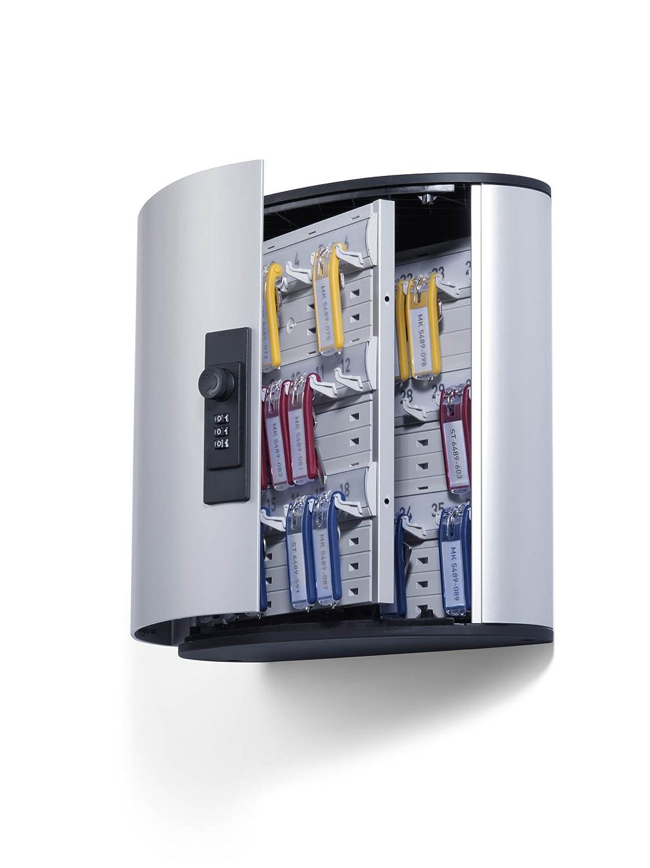 DURABLE 196723 - Key Box Code 72, cassetta portachiavi con combinazione, 302x400x118 mm (LxHxP), capacità 72 chiavi, argento metallizzato