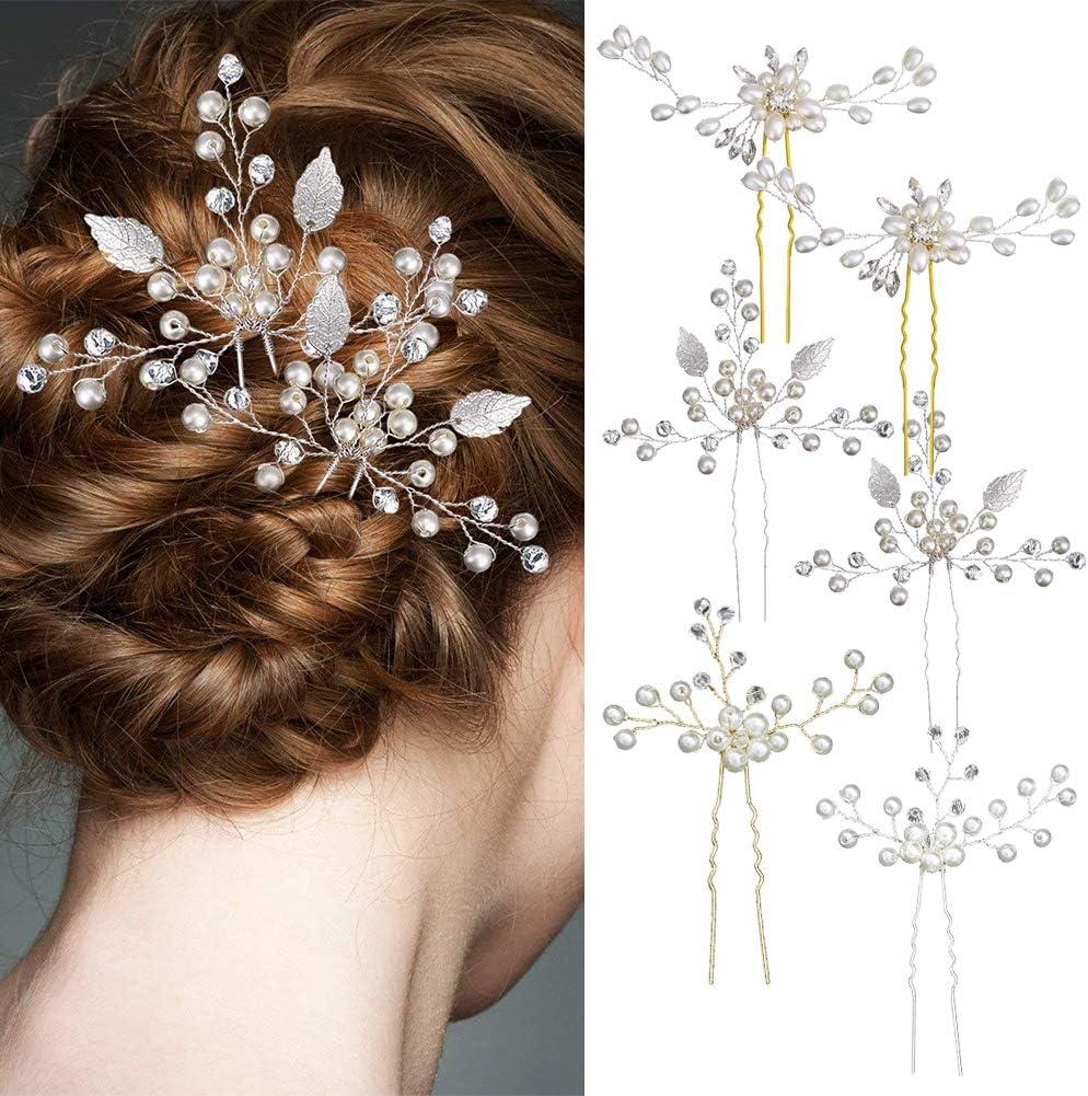 6Pcs Bridal Wedding Crystal Gold Leaf Pearl Flower Hairpins Hair Accessories