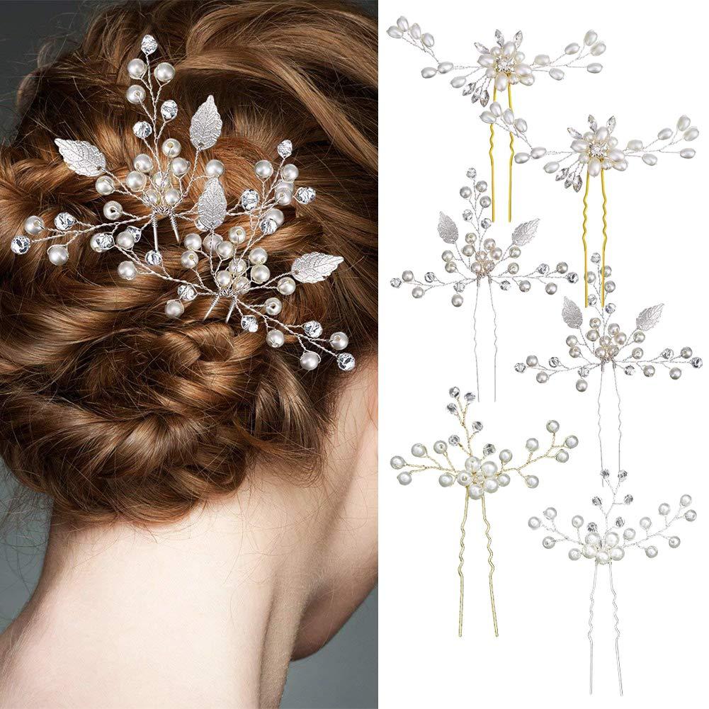 6 Pcs Bridal Hair Pins Vintage Pearl Flower Leaf Wedding