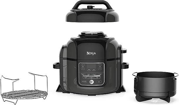 Ninja OP301 Pressure Cooker, Steamer & Air Fryer w/TenderCrisp Technology Pressure & Crisping Lid, 6.5-Quart, Black/Gray