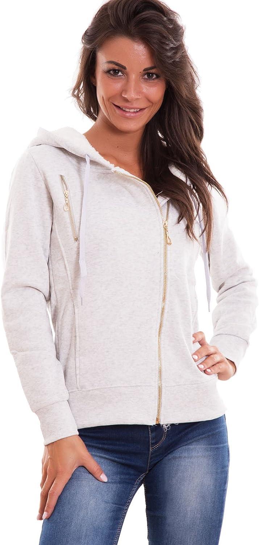 Felpa donna cappuccio giacchetto giacca giubbino giubbotto cotone nuova Z-346