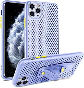 SOKAD iPhone 11 Pro Max Case, Ultra Soft Heat Dissipation Breathable Cooling Hollow Kickstand Liquid Silicone Full Body Protection Shockproof Cover Case for iPhone 11 Pro Max 6.5 Inch 2019 - Purple