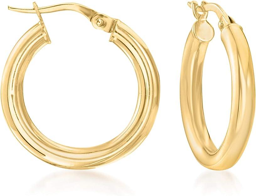 18K ITALIAN SOLID yellow Gold hoop earrings hinged earwire hook MADE IN ITALY