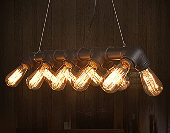 Plafoniere Industriali Vintage : Lightess industriale vintage lampadario steampunk tubo metallico