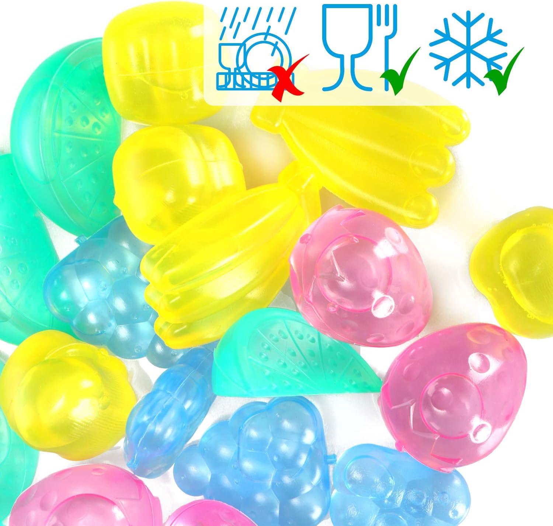 24 St/ück - XL W/ürfel Party-Eisw/ürfel zum K/ühlen von Getr/änken COM-FOUR/® 24x Wiederverwendbare Eisw/ürfel in verschiedenen Farben geschmacksneutrale Jumbo-Eisw/ürfel