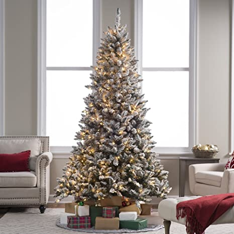 reputable site 6843e c24a7 7.5 ft. Flocked Blue Ridge Spruce Christmas Tree with Instant Glow Power  Pole by Sterling Tree Company