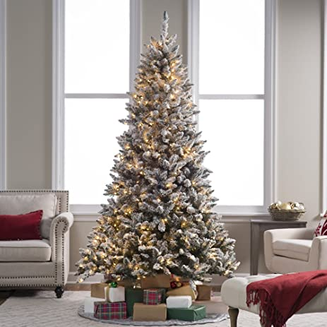 flocked blue ridge spruce christmas tree with instant glow power pole by sterling - Amazon Christmas Tree