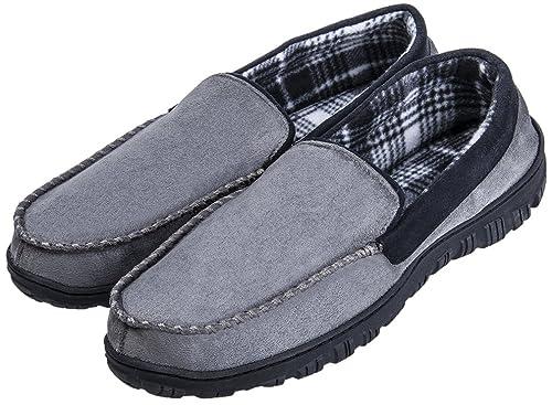 1848f32c096 Festooning Men s Anti-Slip Casual Pile Lined Grey Black Rubber Moccasin  Slippers 8 M US