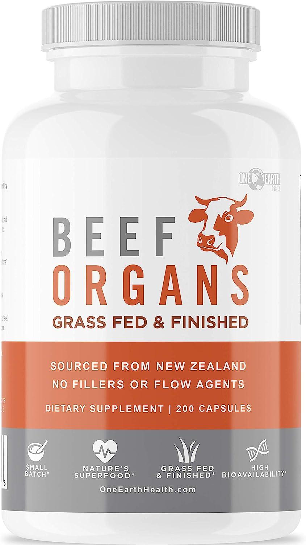 Grass Fed Beef Organs – (200 Count) Liver, Heart, Kidney, Pancreas, Spleen Supplement. Organ Meat Complex sourced from New Zealand