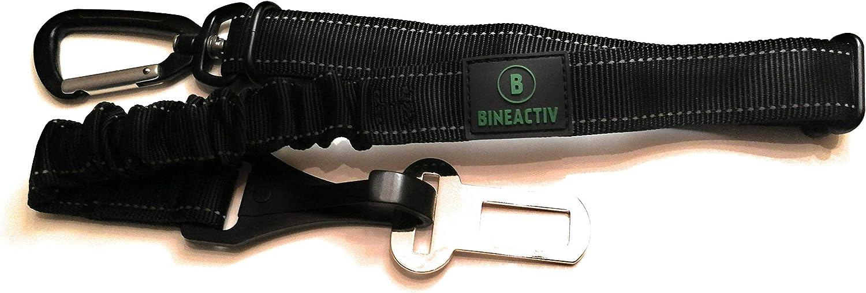 drehbarer Aluminium-Karabiner schwarz Isofix Befestigung Ruckd/ämpfung l/ängenverstellbar BINEACTIV Hunde-Sicherheitsgurt f/ür das Auto