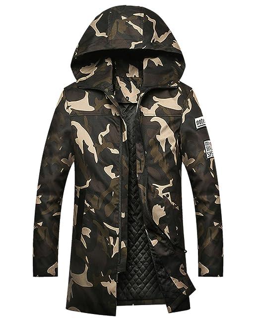 Imbottito Seno Uomo Invernale Verde Cappuccio Camuffamento 114cm Caldo Eozy cappotto Lungo Giubbotto Sportivo qRFFpY
