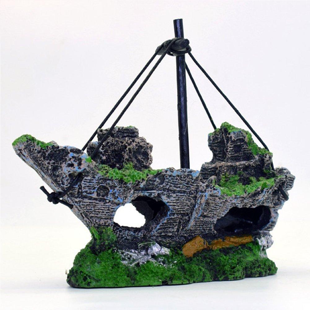 Decoración para acuario, Woopower 14 x 5,5 x 12 cm, resina, pecera, barco, acuario, planta de plástico para pecera, accesorios para el tanque: Amazon.es: ...
