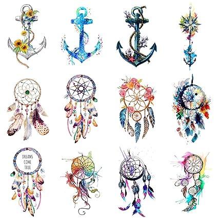 wyuen 12 pcs/lot Atrapasueños Anchor temporal tatuaje Pegatina ...