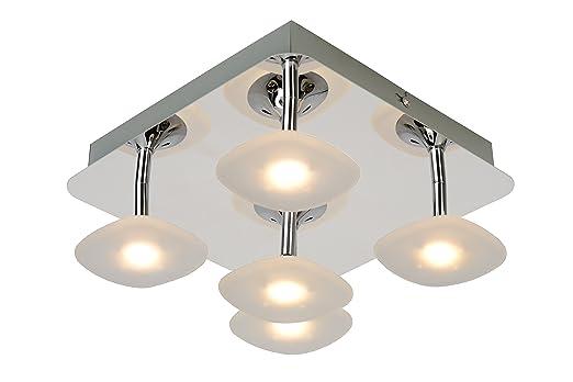 Lucide hana led flush ceiling light led 5x5w 3000k chrome