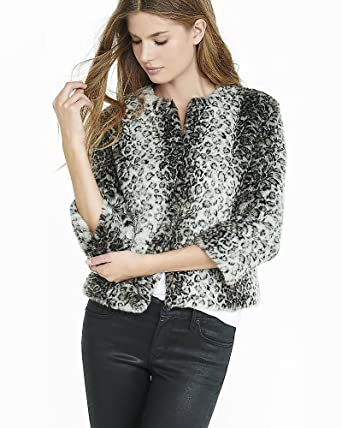 f936d9d2f395 express Faux Leopard Fur Chubby Jacket (large) at Amazon Women's ...