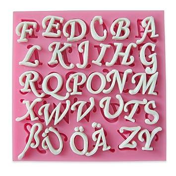CLE DE TOUS - Molde Silicona para Tarta Pastel Cenefas Fondant #FPFA-510 Molde Decoración Tarta con Forma Letras Alemanes: Amazon.es: Hogar