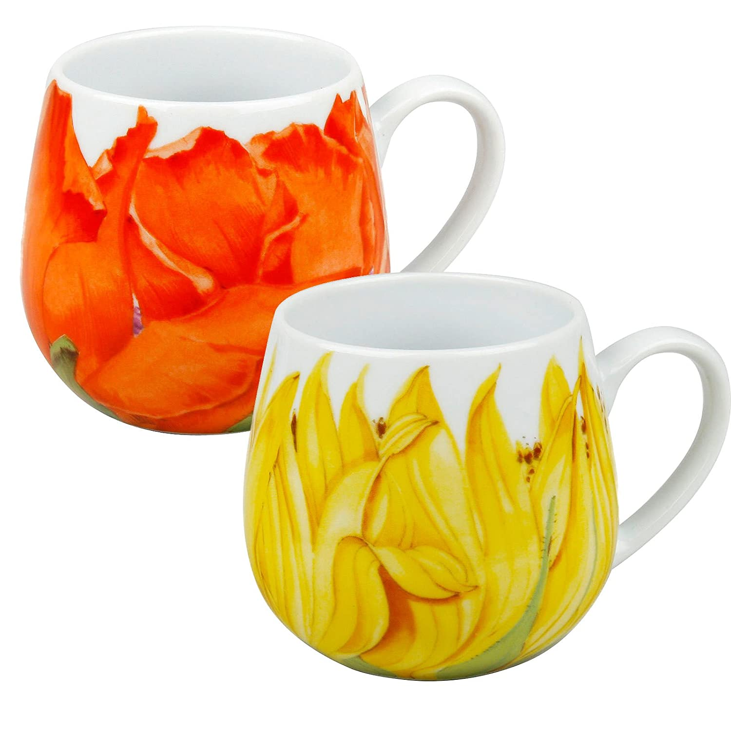 Konitz Poppy And Sunflower Blossoms Snuggle Mugs, Set Of 2