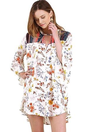 da8bd2f039212b Umgee Women s Floral Bell Sleeve Dress With Keyhole Neckline at ...