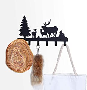 CoolPlus Coat Rack Wall Mounted Entryway Key and Crossbody Purse Holder Handbag Hanger Backpack Hooks and Clothes Hat Organizer Home Decor Metal Mural Art Deer Pattern Black Finish