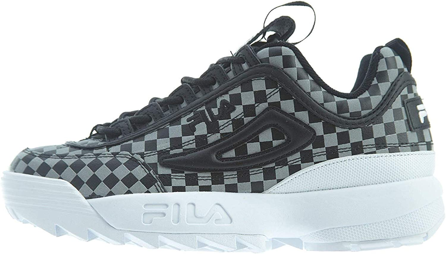 Fila Women's Disruptor II Sneaker (9.5, Checker- Black/Metallic Silver/White)