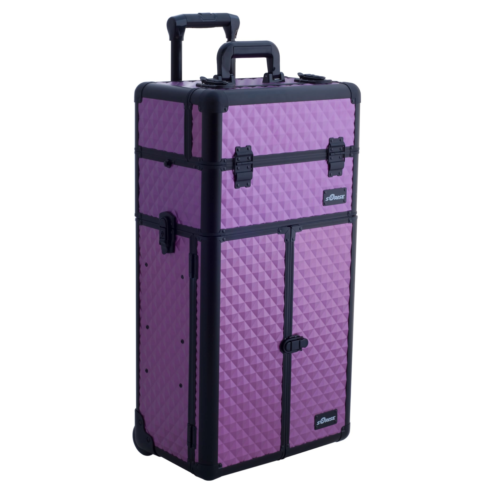 SUNRISE Makeup Case on Wheels 2 in 1 Professional Trolley I3466, French Doors, 6 Trays and 2 Drawers, Adjustable Dividers, Locking with Mirror and Shoulder Strap, Purple Diamond by SunRise
