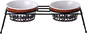 Signature Housewares City Pets Dog Bowl, Set of 2 Bowls with Stand