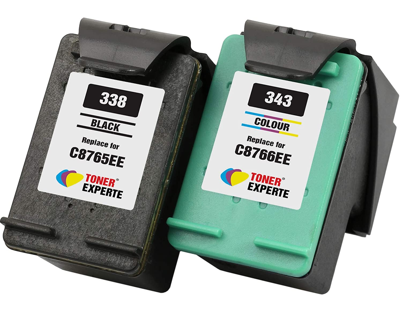 TONER EXPERTE® Reemplazo para HP 338 HP 343 2 Cartuchos de Tinta ...