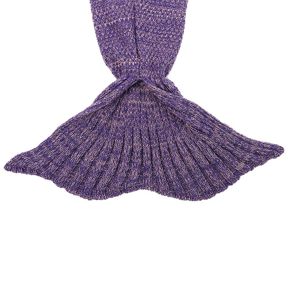 AmyHomie Mermaid Tail Blanket, Crochet Knitting Mermaid Blanket, Mermaid Tail Blanket for Kids All Seasons Sleeping Blankets for Girls (55x28in Purple) by AmyHomie (Image #6)