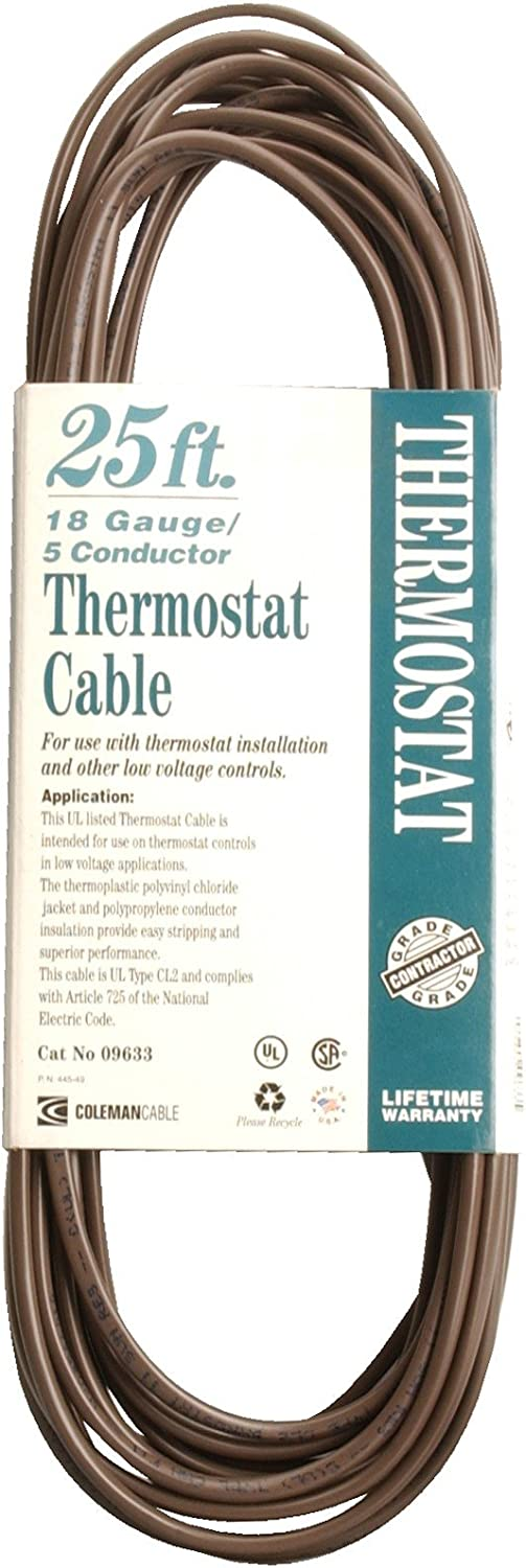 Coleman Cable 09633 CL2 Bulk Thermostat Cable 18-Gauge 5-Conductor 25-Feet