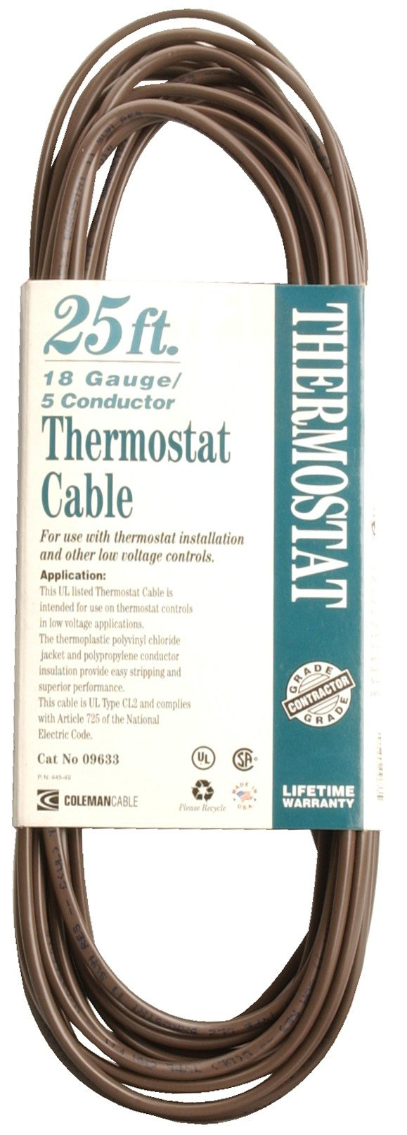 Coleman Cable 09633 CL2 Bulk Thermostat Cable, 18-Gauge 5-Conductor 25-Feet