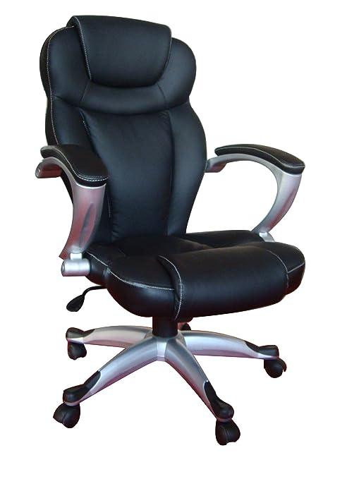My SIT 92384382, Silla de oficina giratoria escritorio altura ajustable cuero sintético sillón diseño silla con reposabrazos ajustable, negro