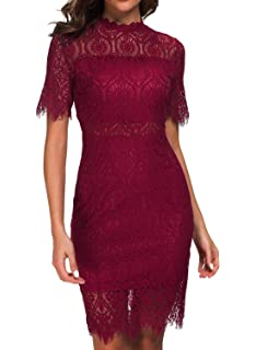 3136d362e8 Zalalus Women s Elegant High Neck Short Sleeves Lace Cocktail Party Dress