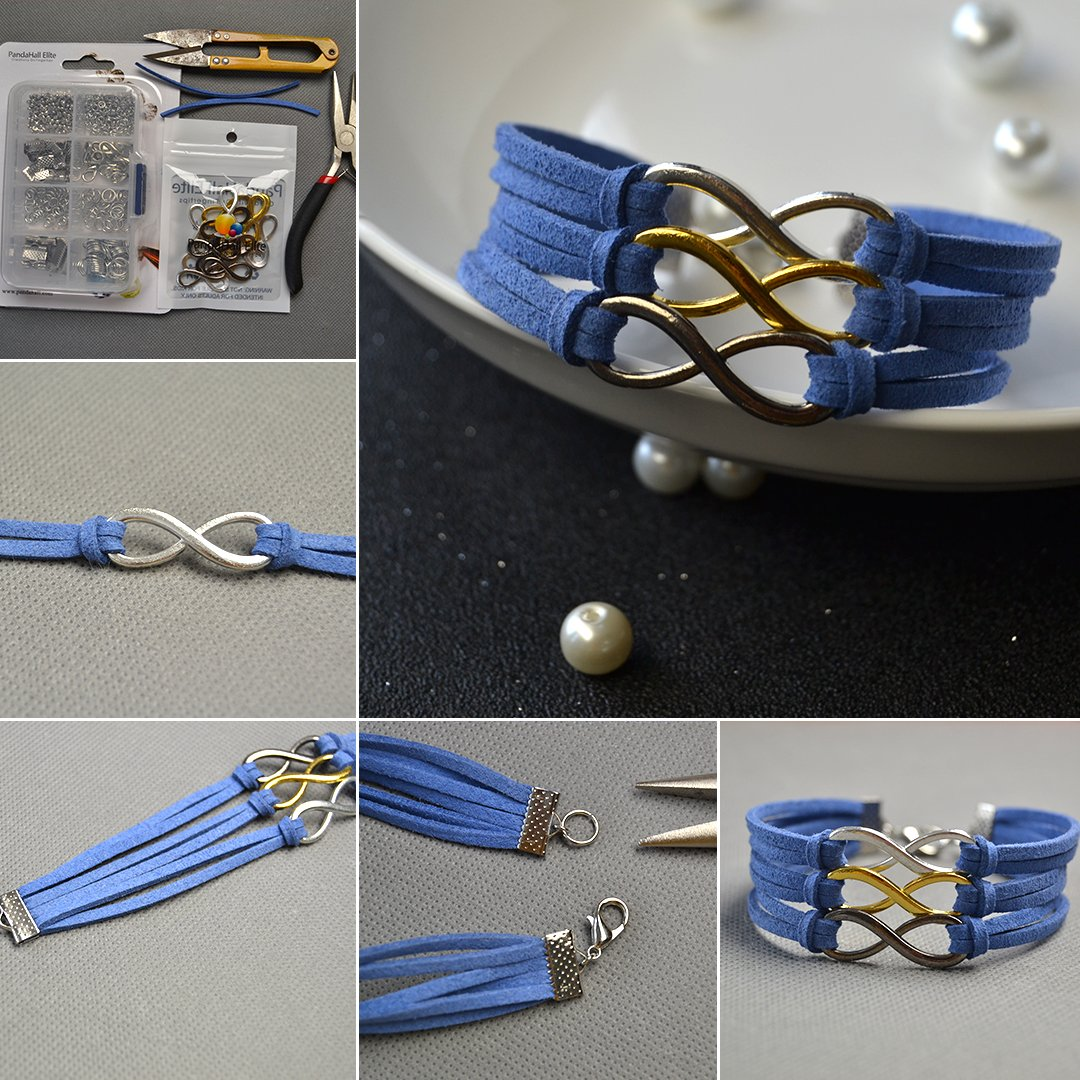PandaHall Elite 60 Sets Brass Lobster Claw Clasps Fold Over Cord End Caps 33x5mm Jewelry Making 2 Colors