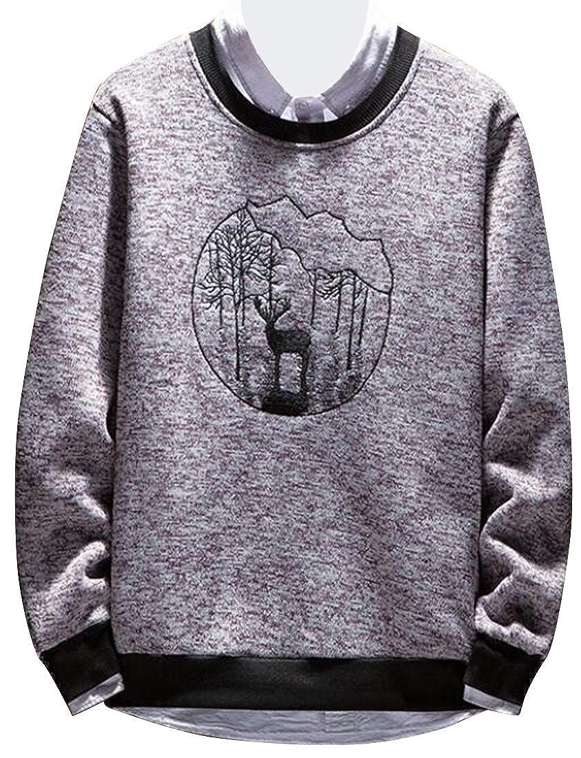 YYG Mens Winter Knitting with Velvet Round Neck Regular Fit Thicken Warm Pullover Sweaters