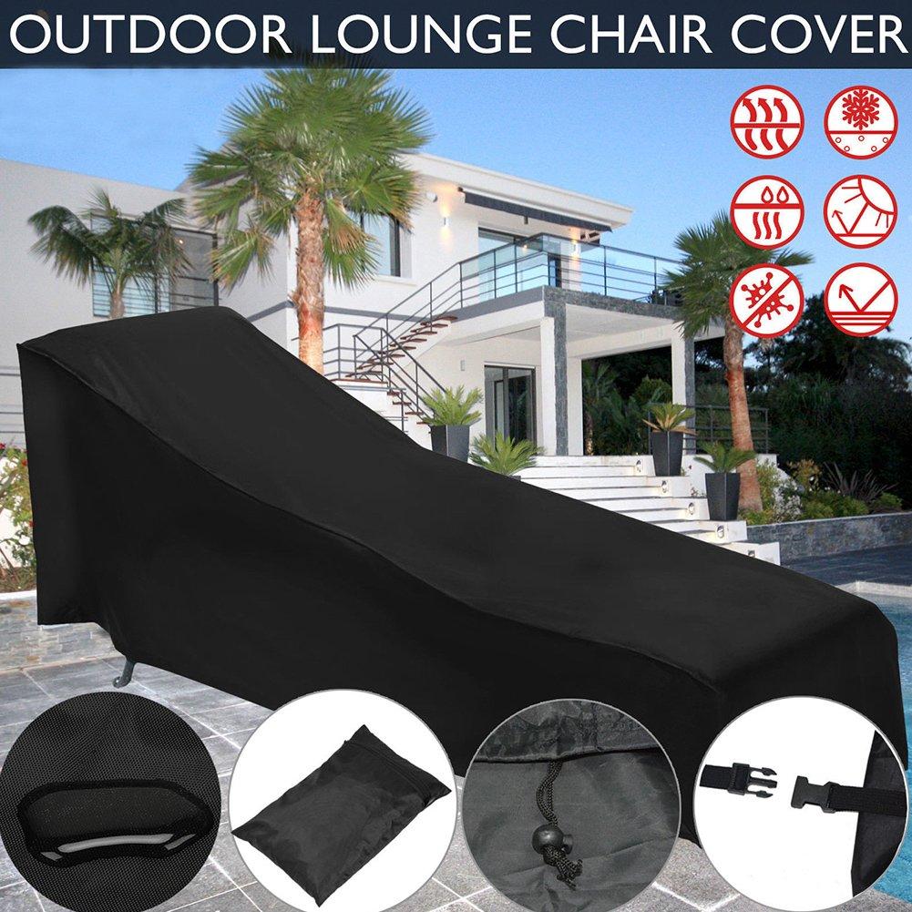 PROKTH impermeabile per lettino prendisole con tasca portaoggetti, Garden Outdoor Sun lounge della sedia, mobili da giardino sdraio mobili copertura antipolvere nero